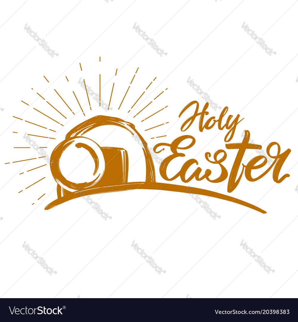 Holy easter holiday religious calligraphic text