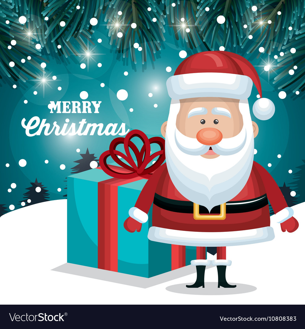 Merry christmas santa claus and gift blue vector image
