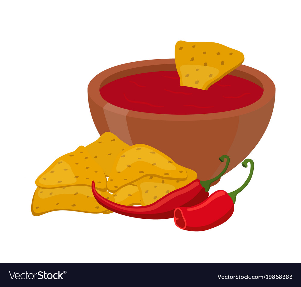 Mexican nachos chips cartoon flat style