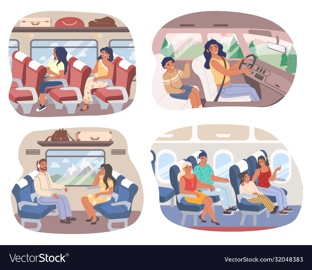 Passengers inside various transport means