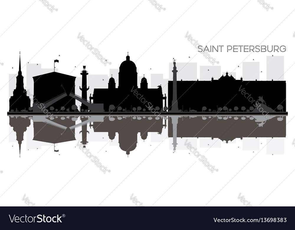 Saint petersburg city skyline black and white