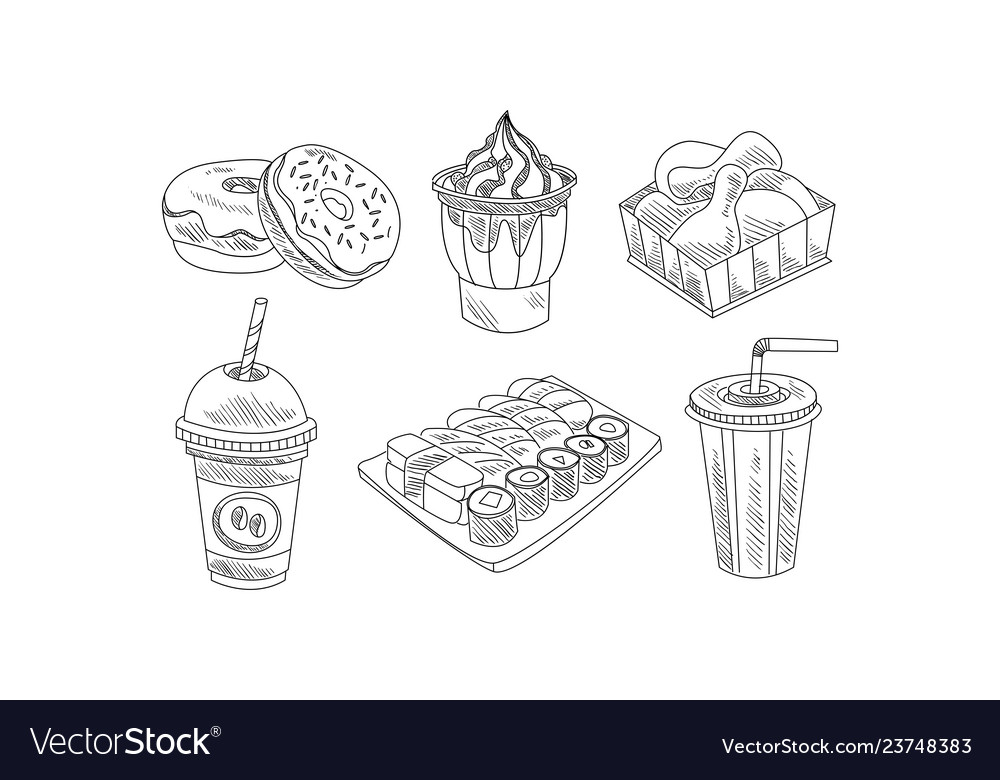 Set hand drawn fast food and beverages