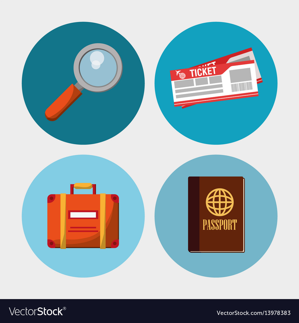 Set travel vacation objects