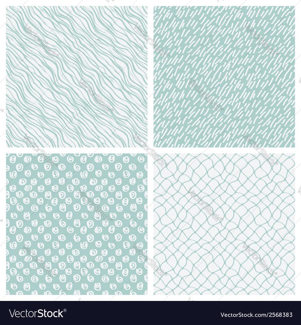 Simple hand-drawn seamless patterns set