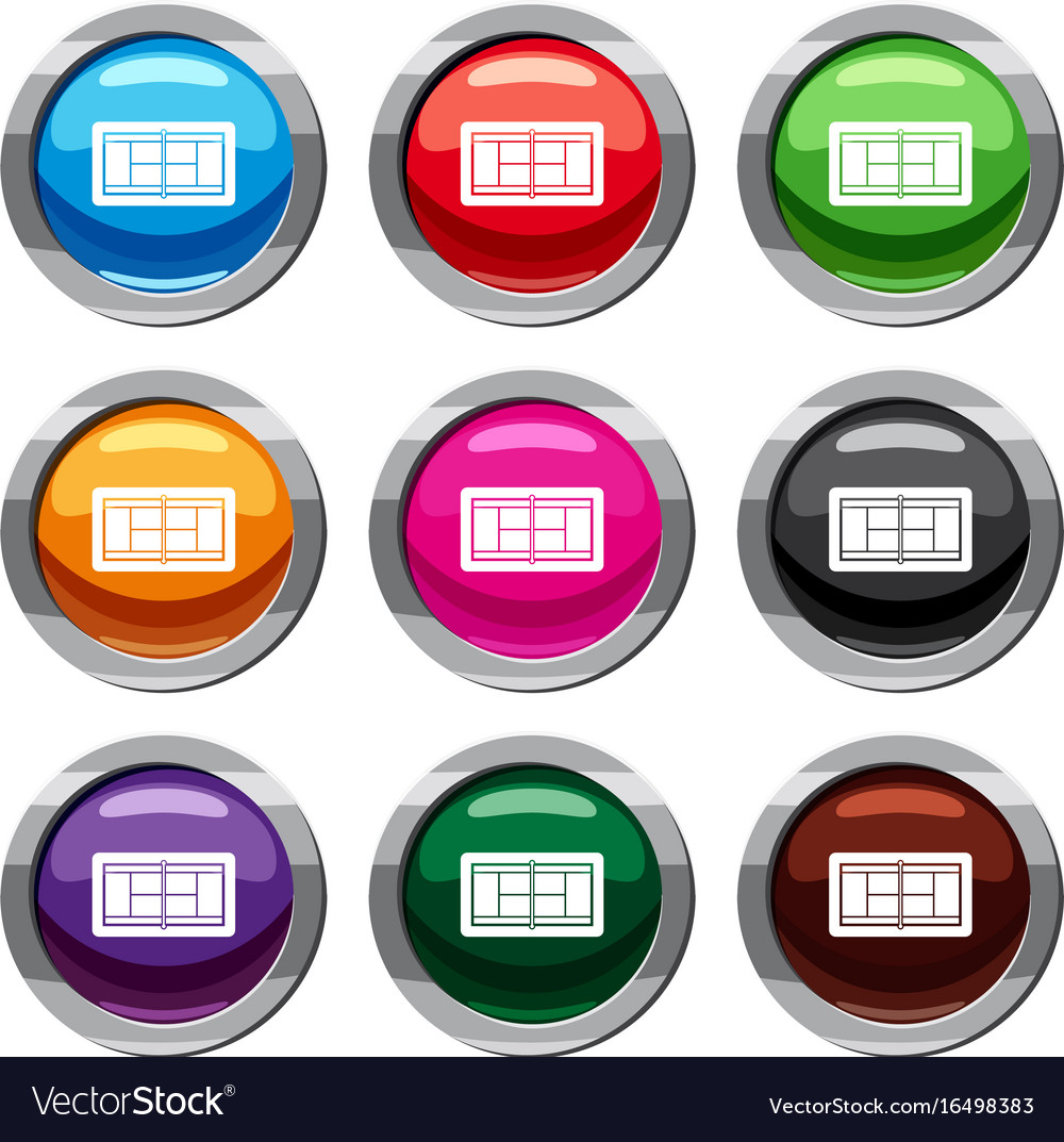 Tennis court set 9 collection vector image