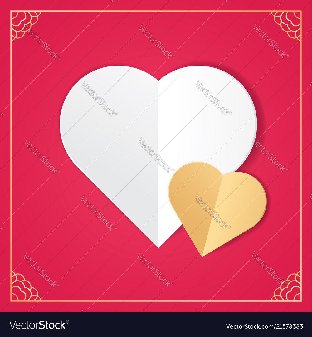 White paper cut love heart for valentines day
