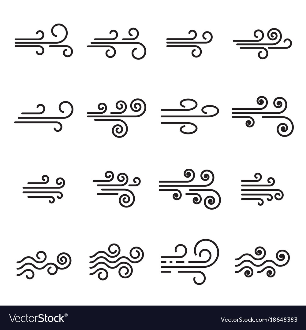 Wind icons linear style symbols