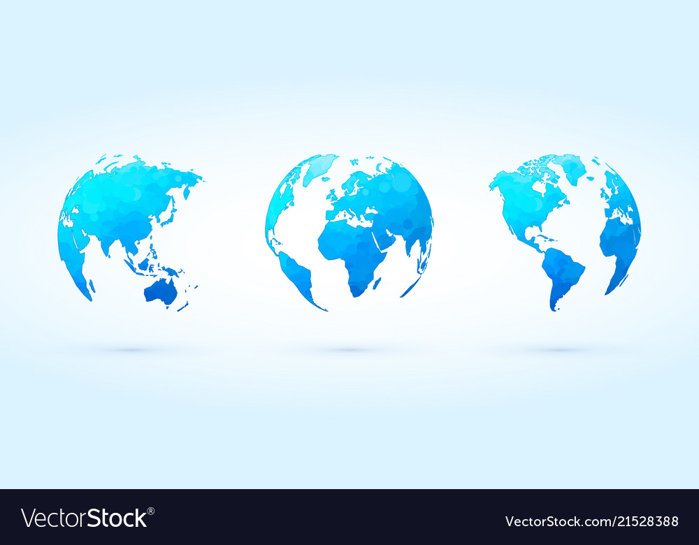 Abstract blue circle globes set world planet earth