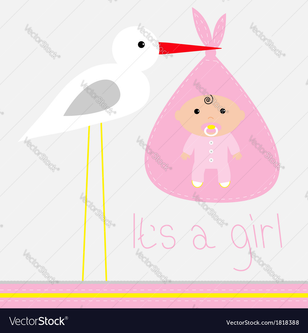 Baby shower card with stork Its a girl vector image