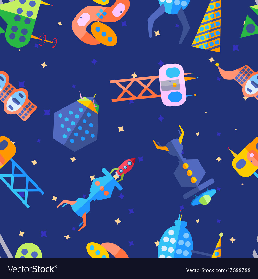 Bright extraterrestrial future city pattern in