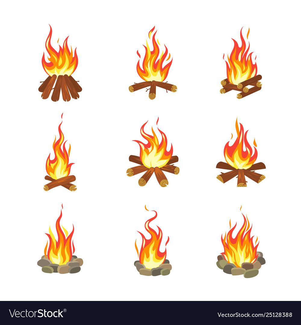 Cartoon bonfire tourist summer campfires flame