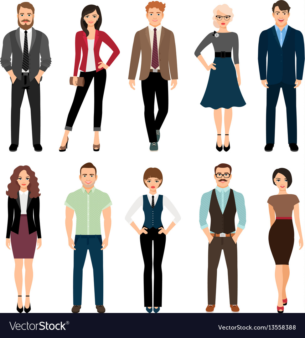 Casual office people icons set