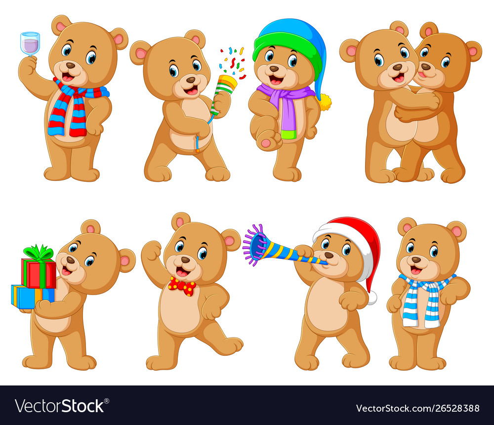 Collection cute bear with various posing
