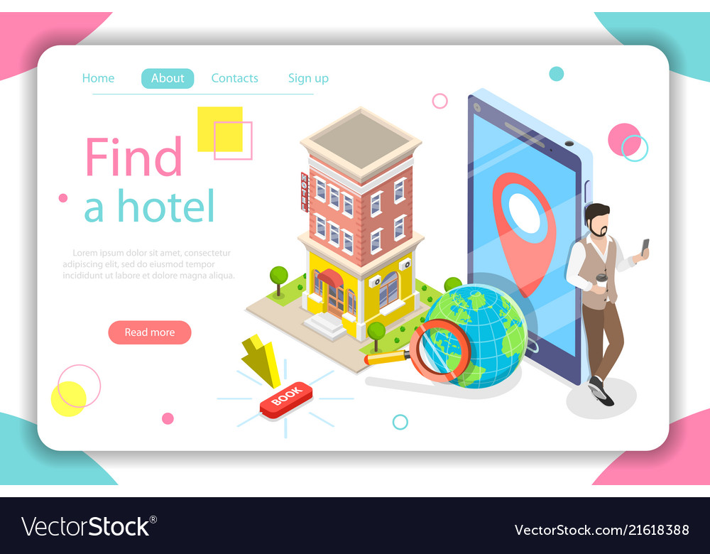Find a hotel flat isometric concept