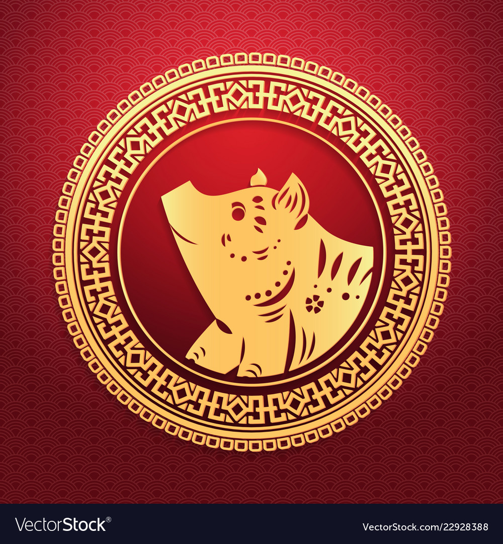 Happy chinese new year 2019 lunar pig zodiac sign