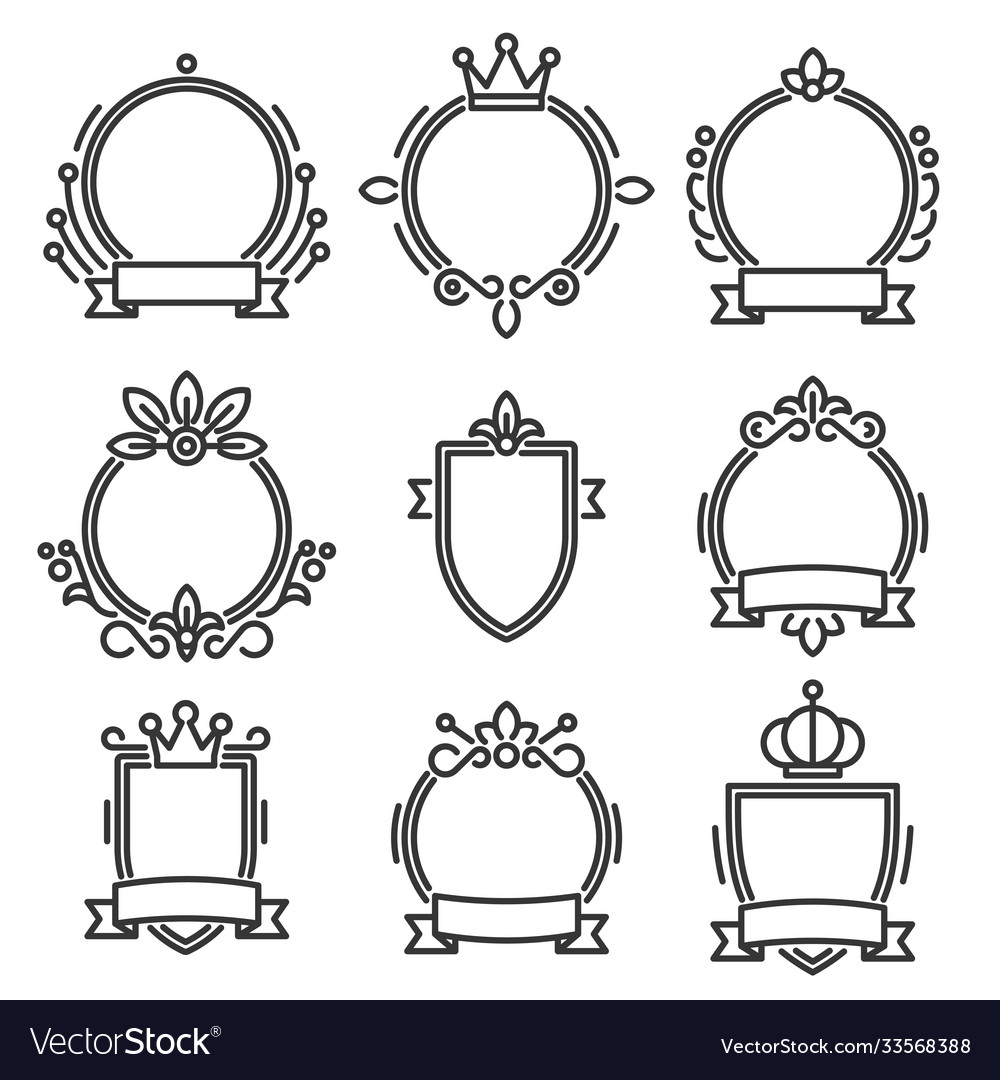 Heraldic baroque frame set on white background