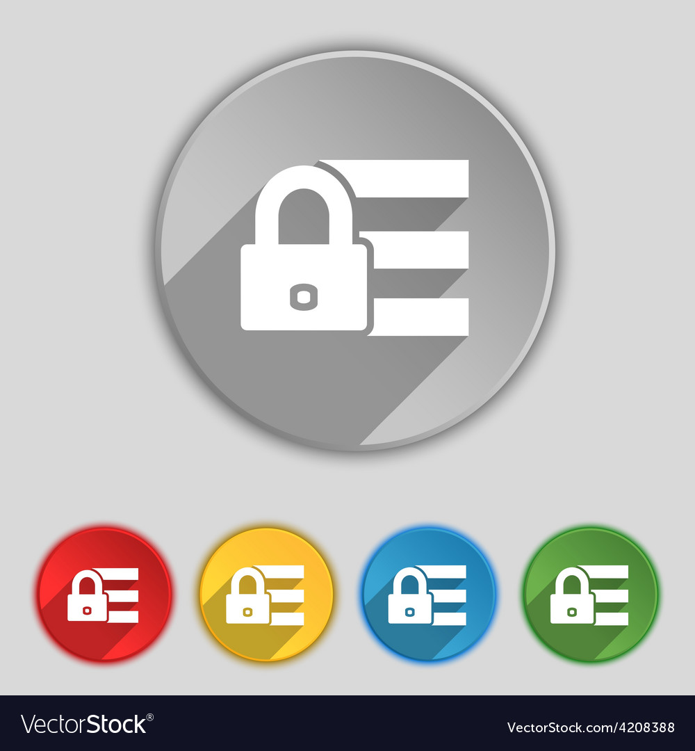 Lock login icon sign Symbol on five flat buttons