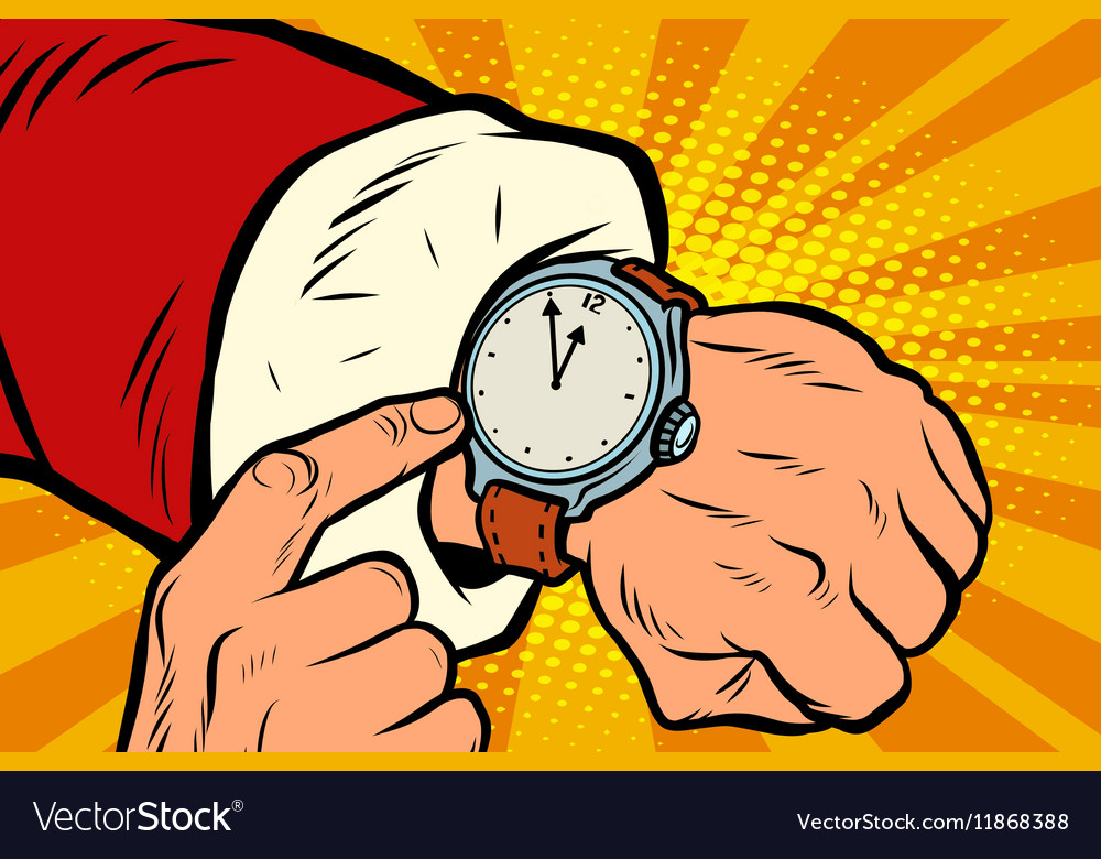 Santa Claus shows the clock nearly midnight