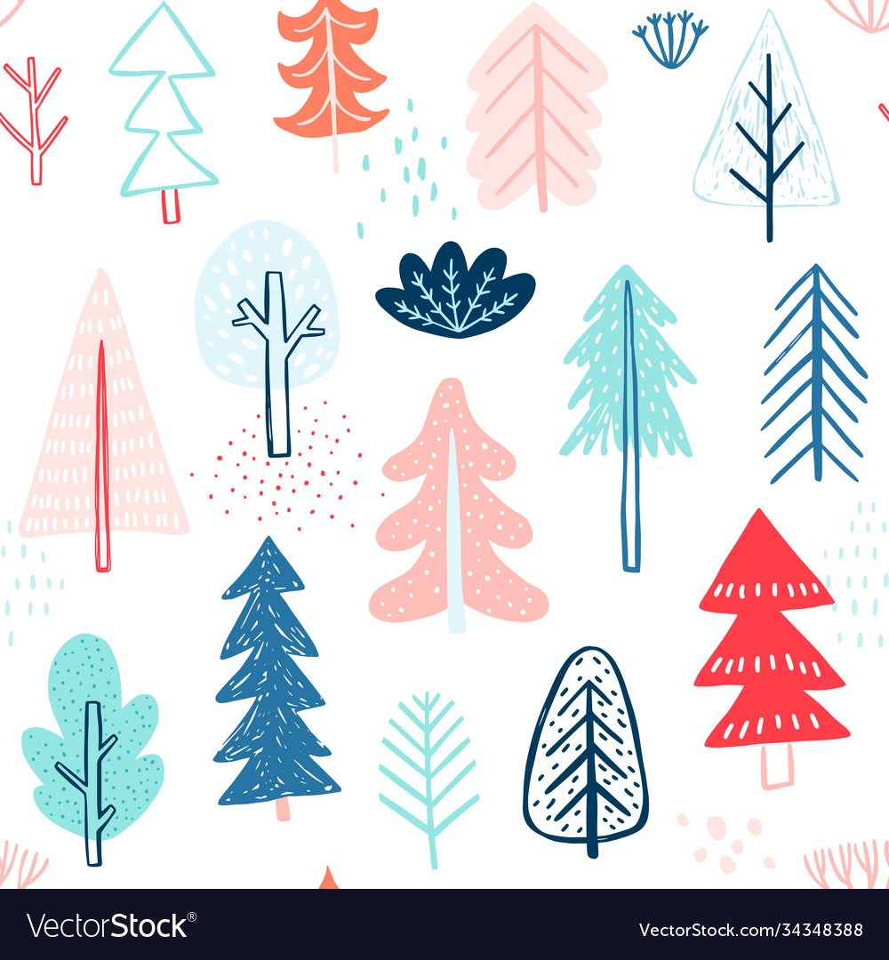 Seamless pattern with cute winter trees childish