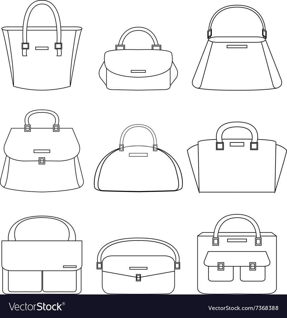 Set of handbags on white background vector image
