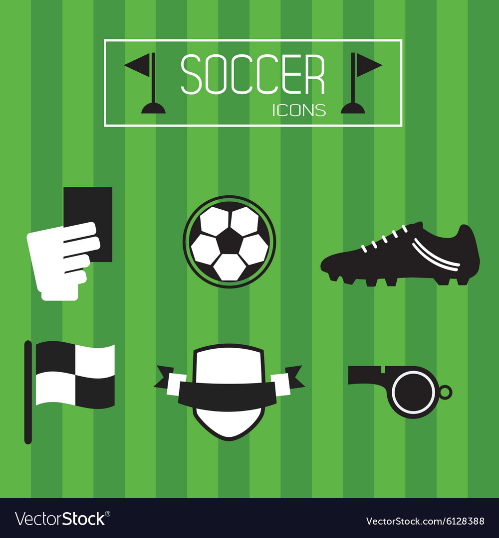 Soccer accessories and icons set