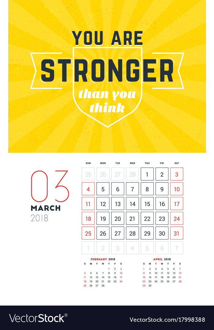 Wall Calendar Template For March 2018 Design Vector Image
