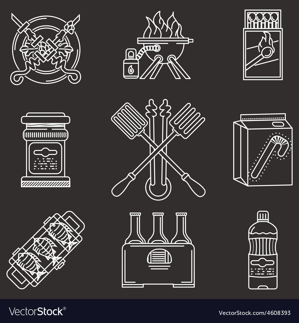 Barbecue white line icons