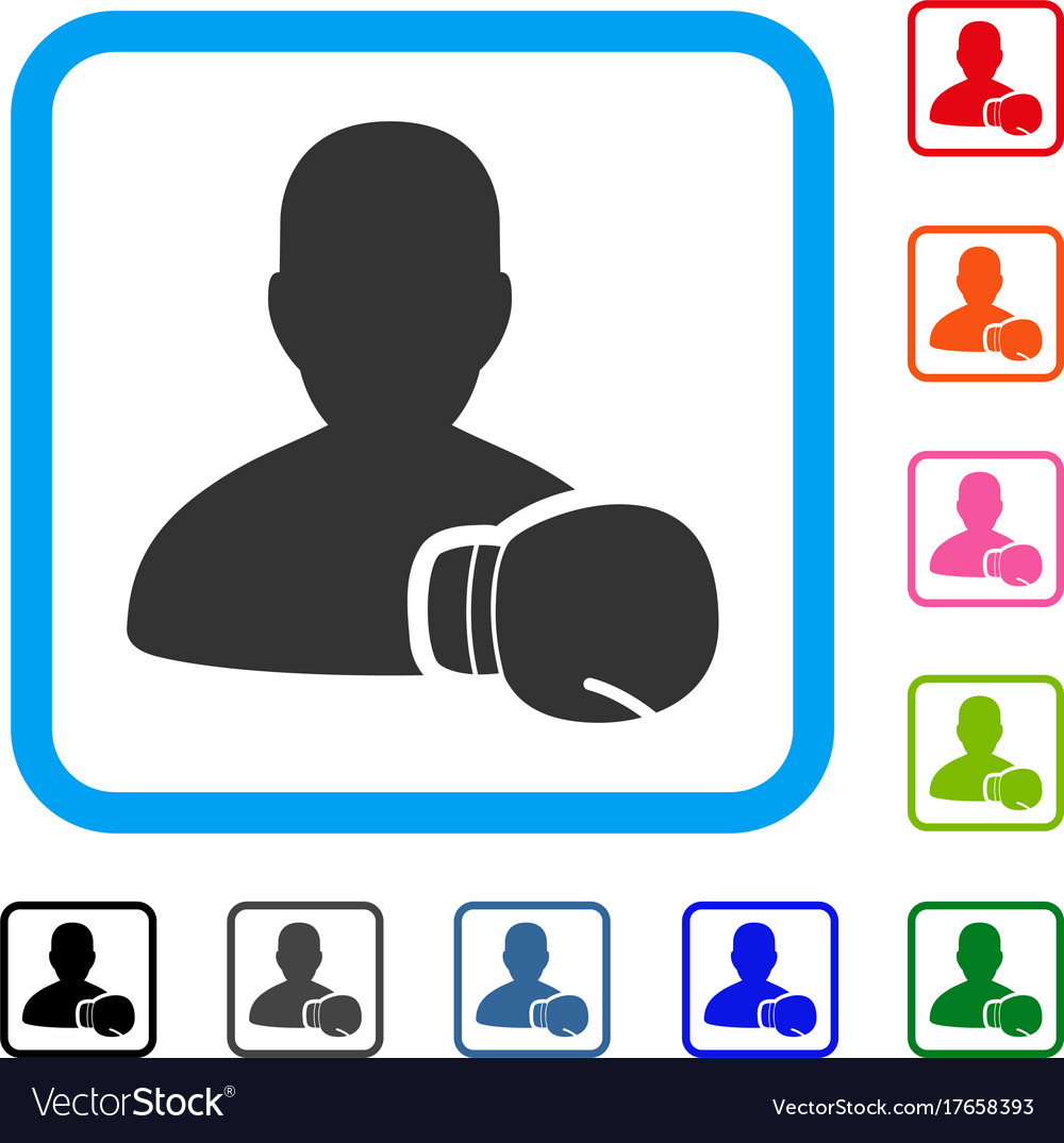 Boxing sportsman framed icon Royalty Free Vector Image