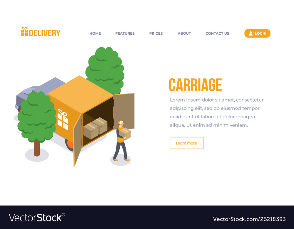 Carriage isometric landing page template