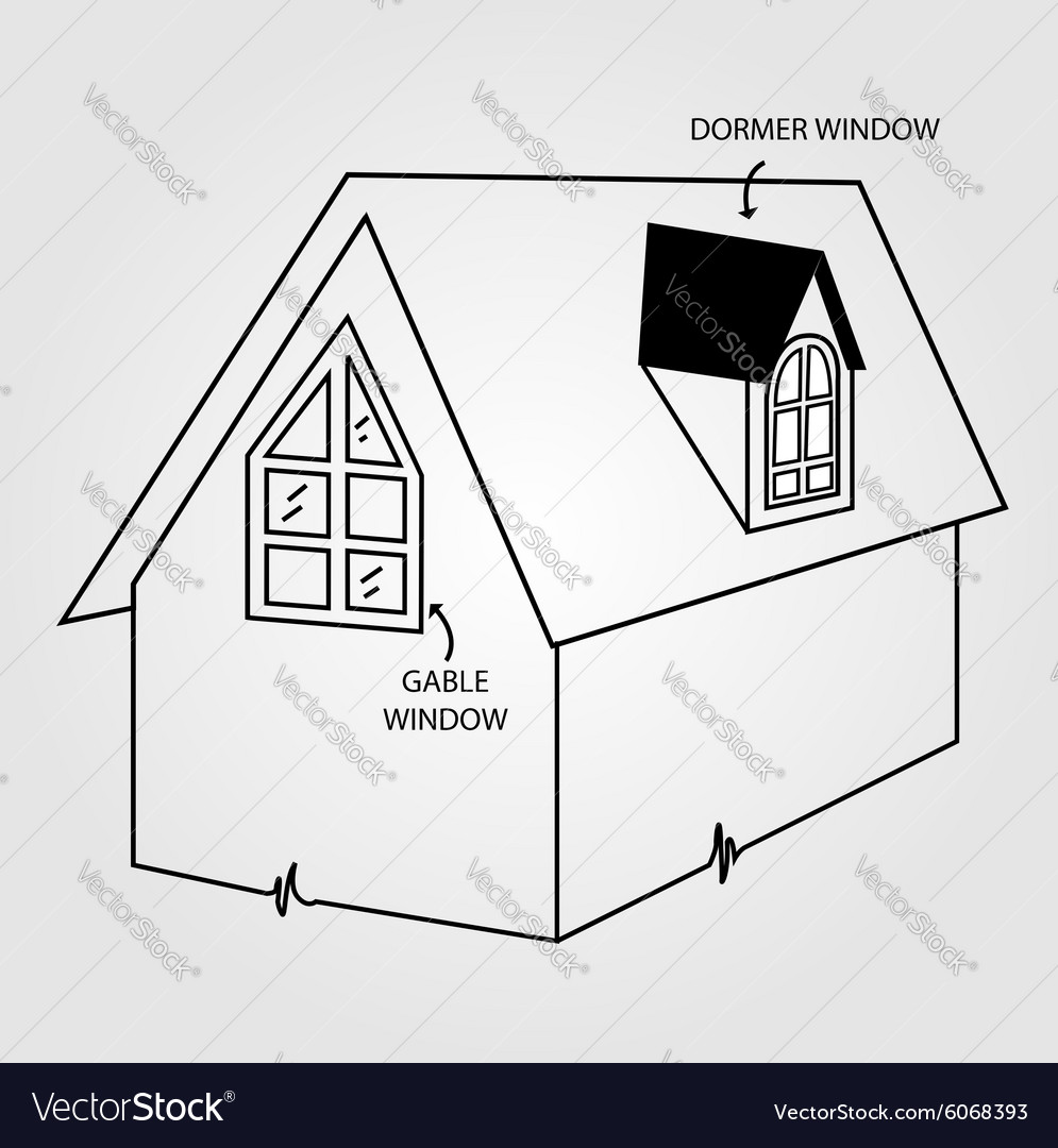 Diagram of dormer and gable window vector image