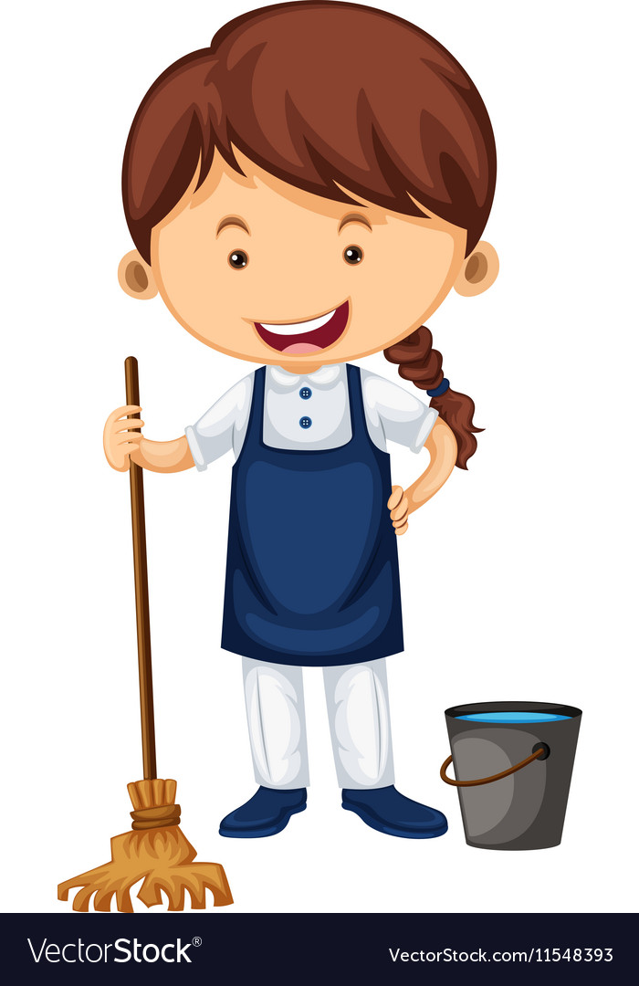 Female cleaner with broom and water bucket vector image