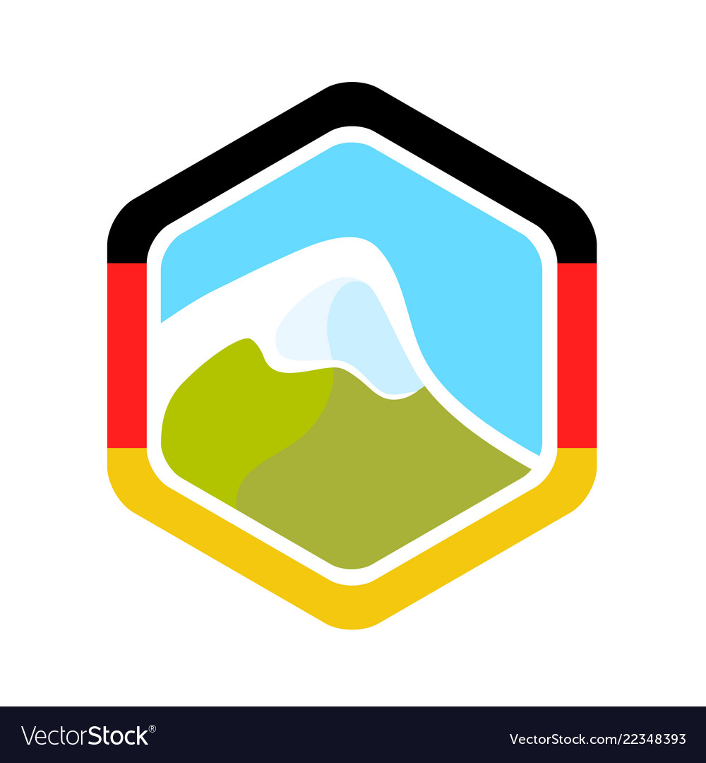 Flag of germany and alpine mountain