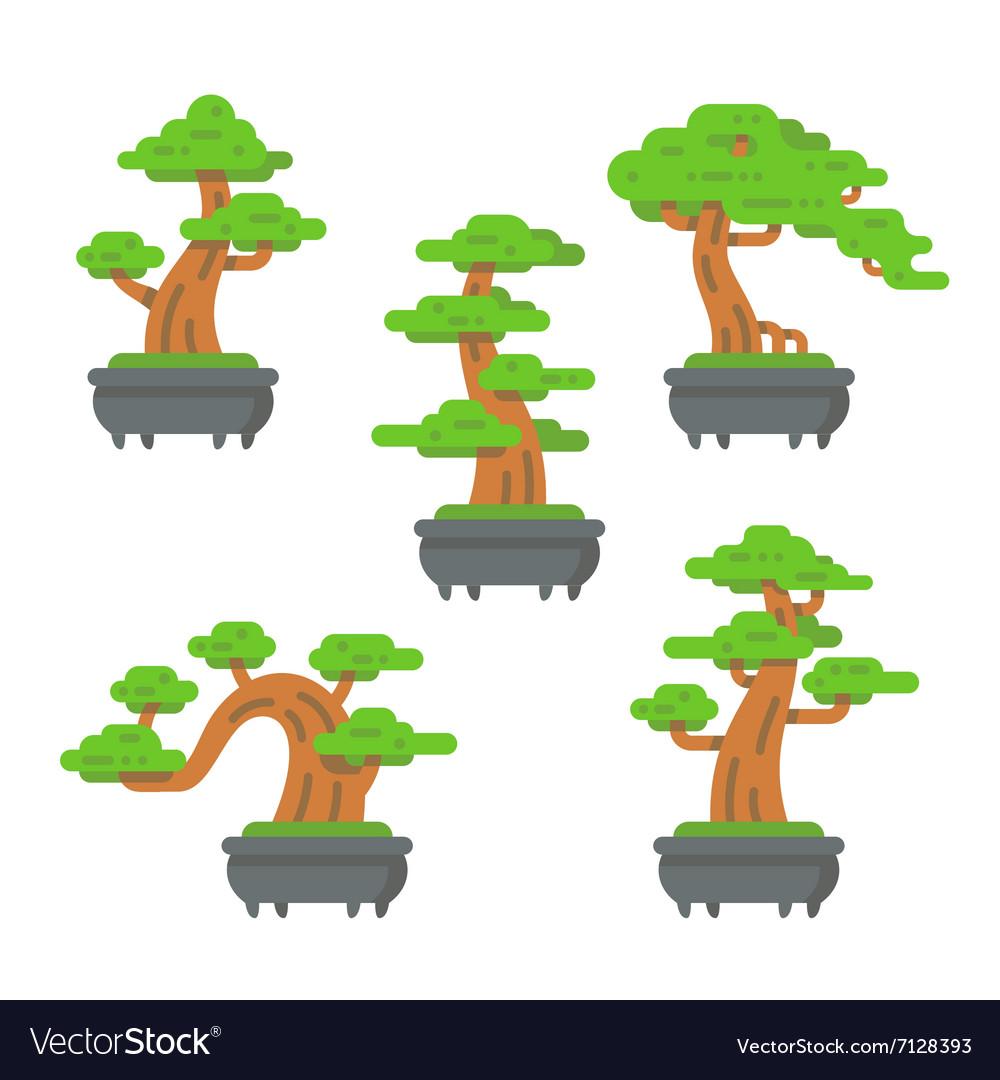 Flat design bonsai tree set