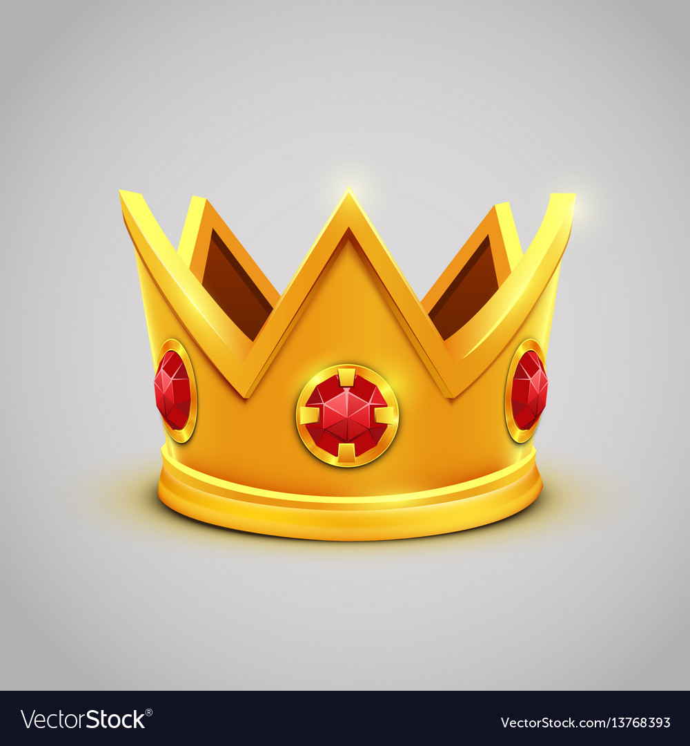 Gold king crown with red jewels