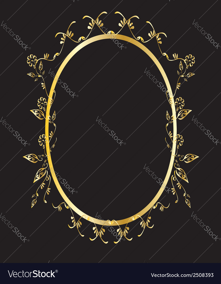 Gold oval floral frame Royalty Free Vector Image