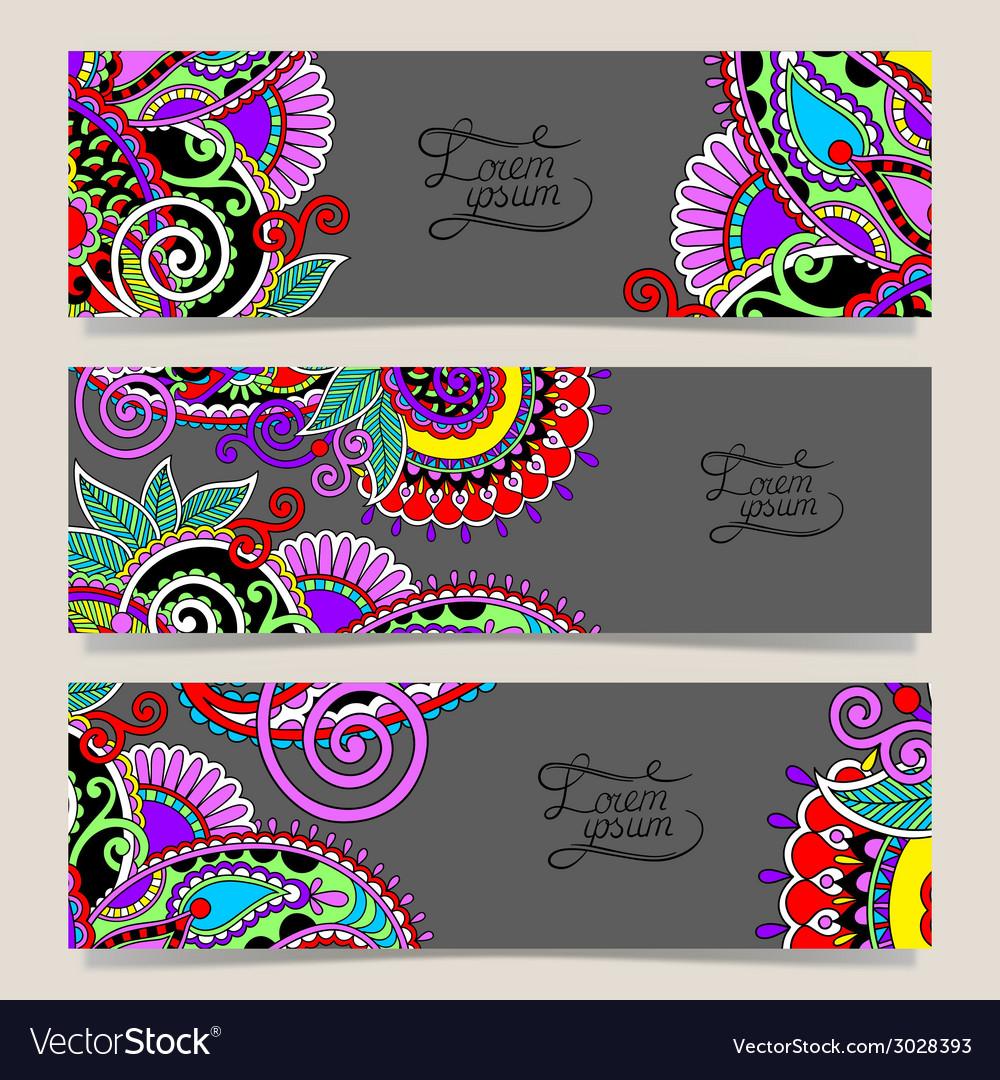Set of decorative flower template banner card web