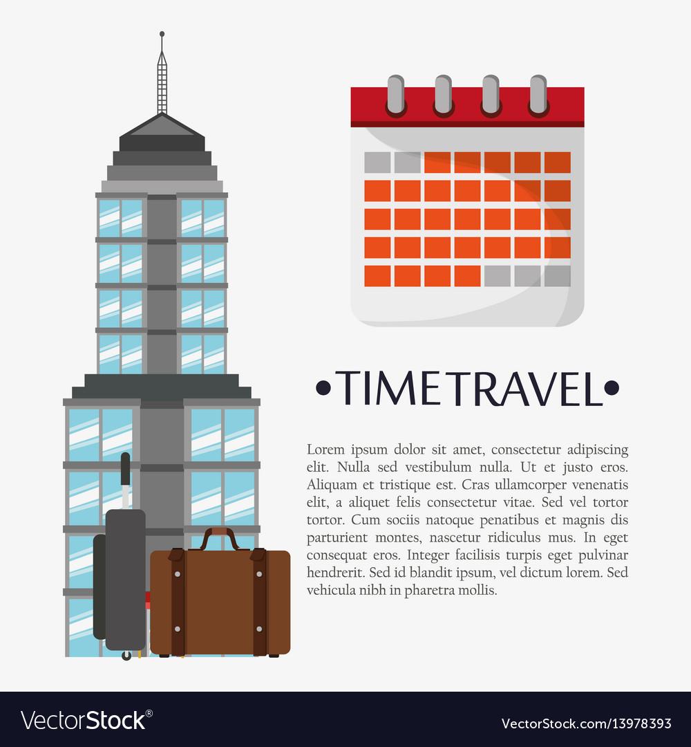Time travel poster calendar landmark vector image