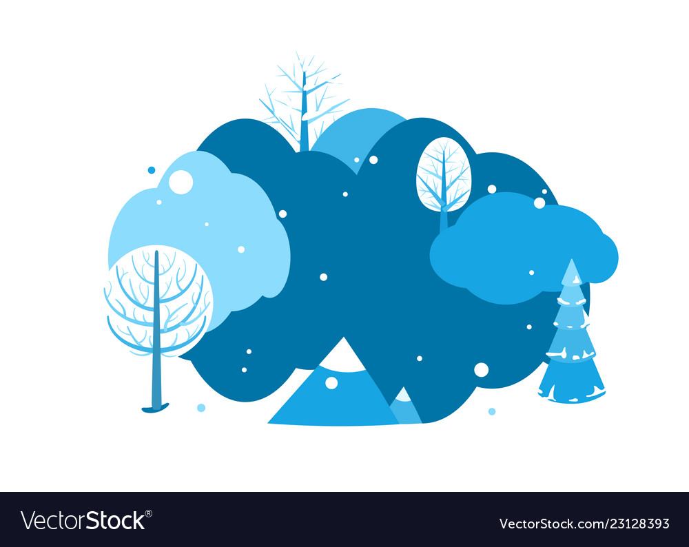 Winter landscape background with copy space