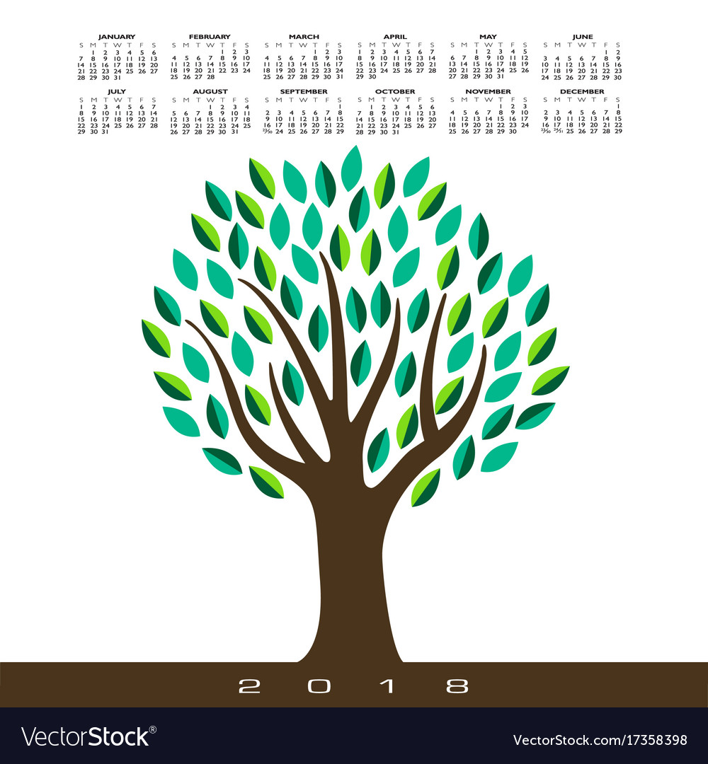 A 2018 calendar with a stylized abstract tree
