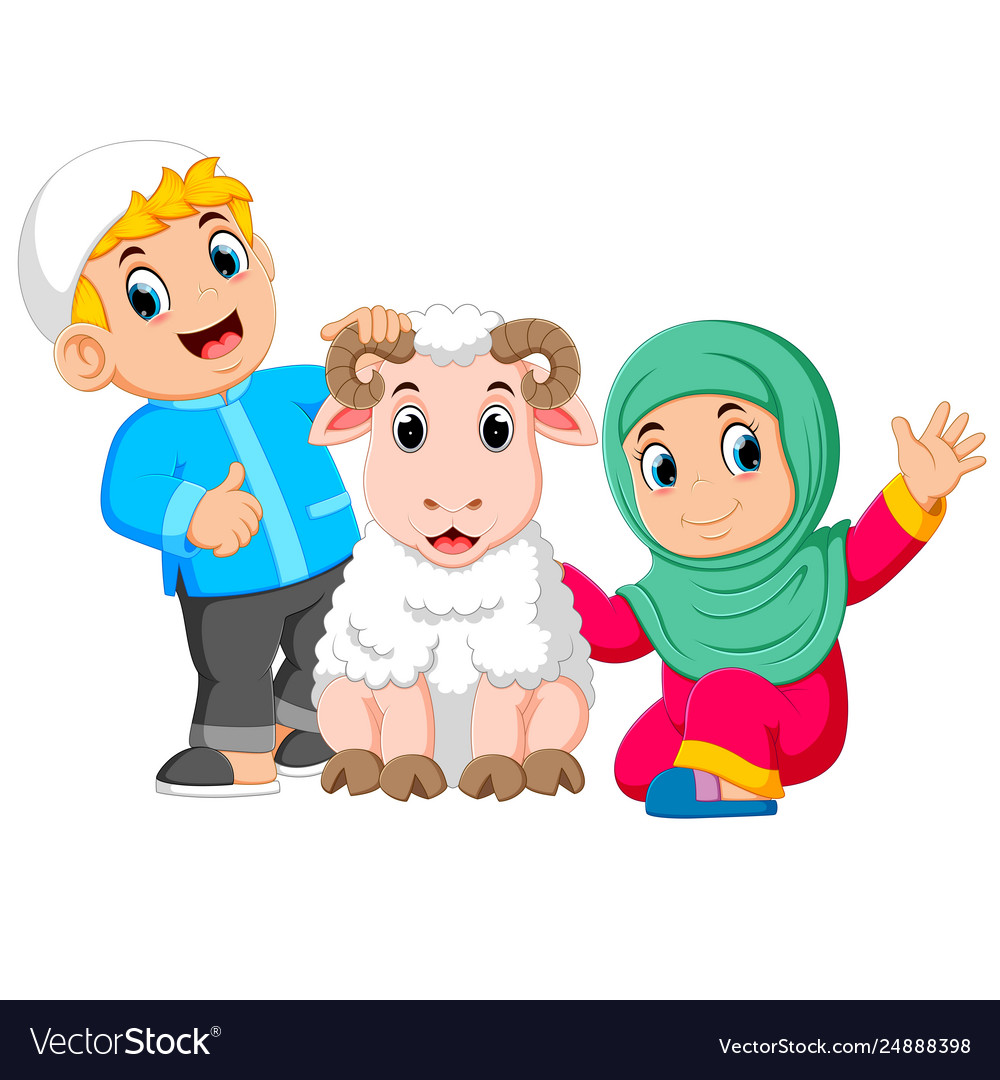 A girl and her father are holding white sheep