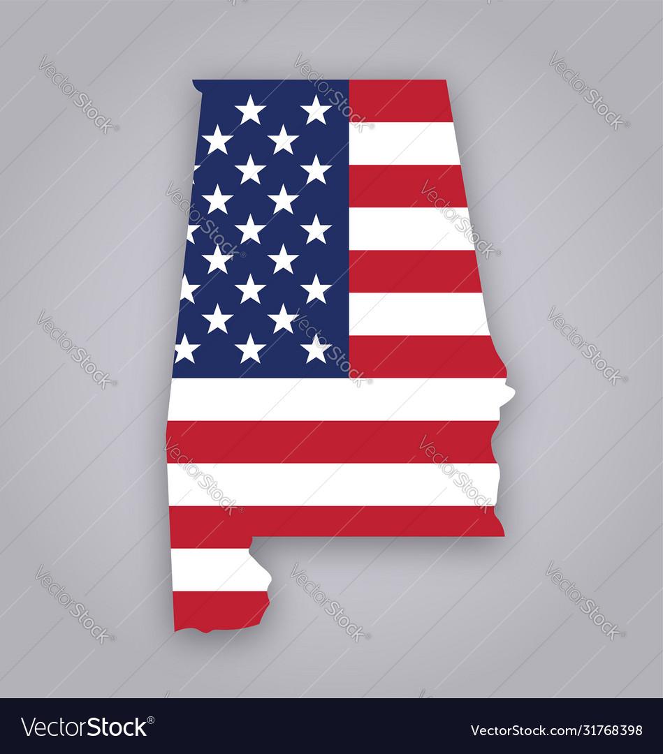 Alabama al state map with usa flag