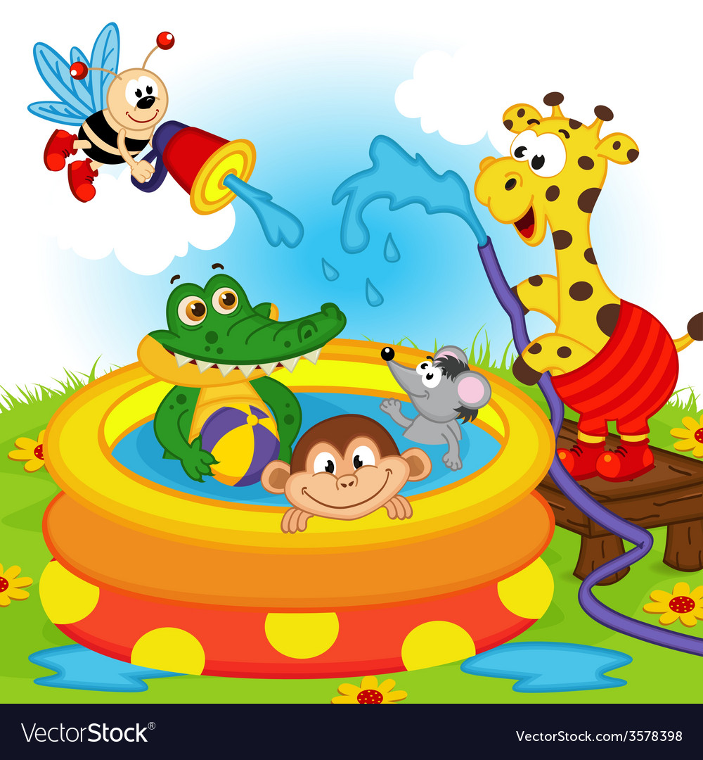 Animals in inflatable pool