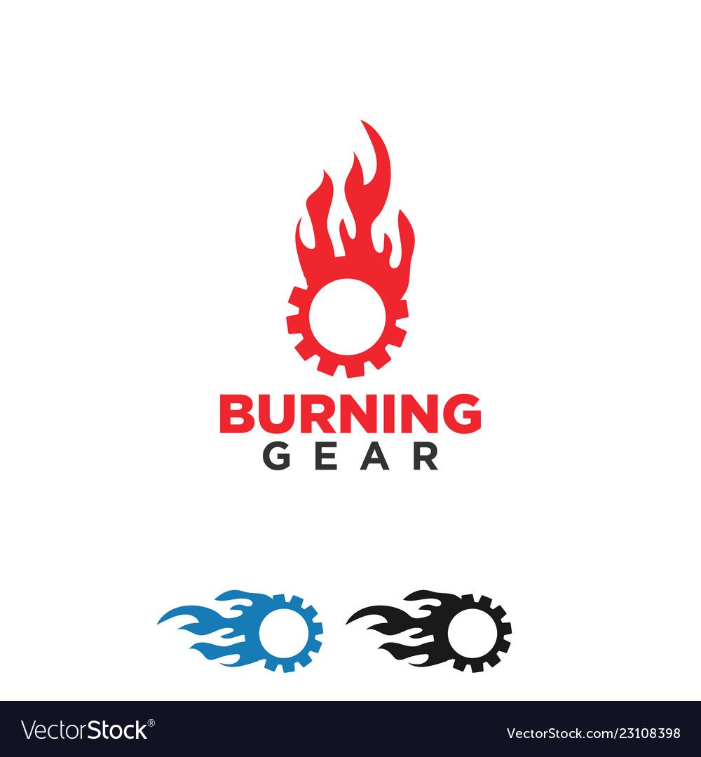 Burning gear logo design template