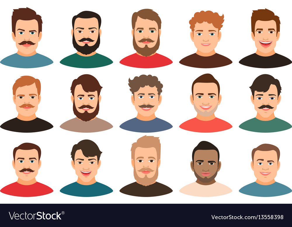 Cartoon handsome young guy portraits vector image