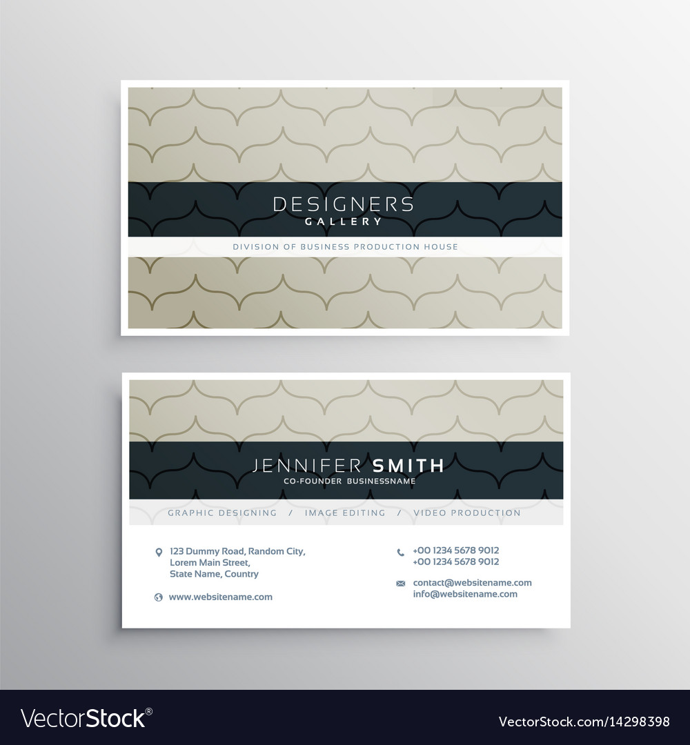 Corporate business card with clean pattern vector image