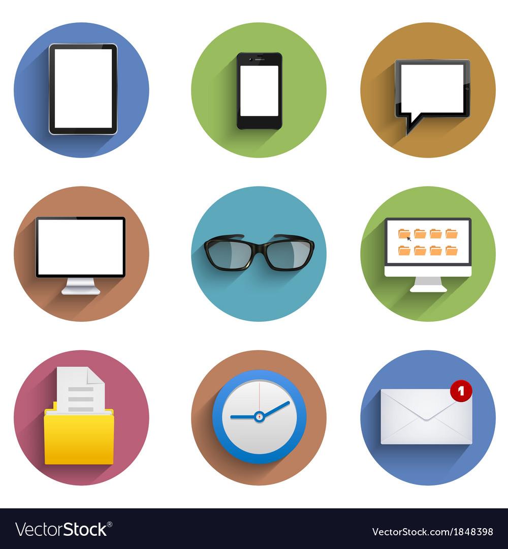 Flat technology circle icon set Eps10