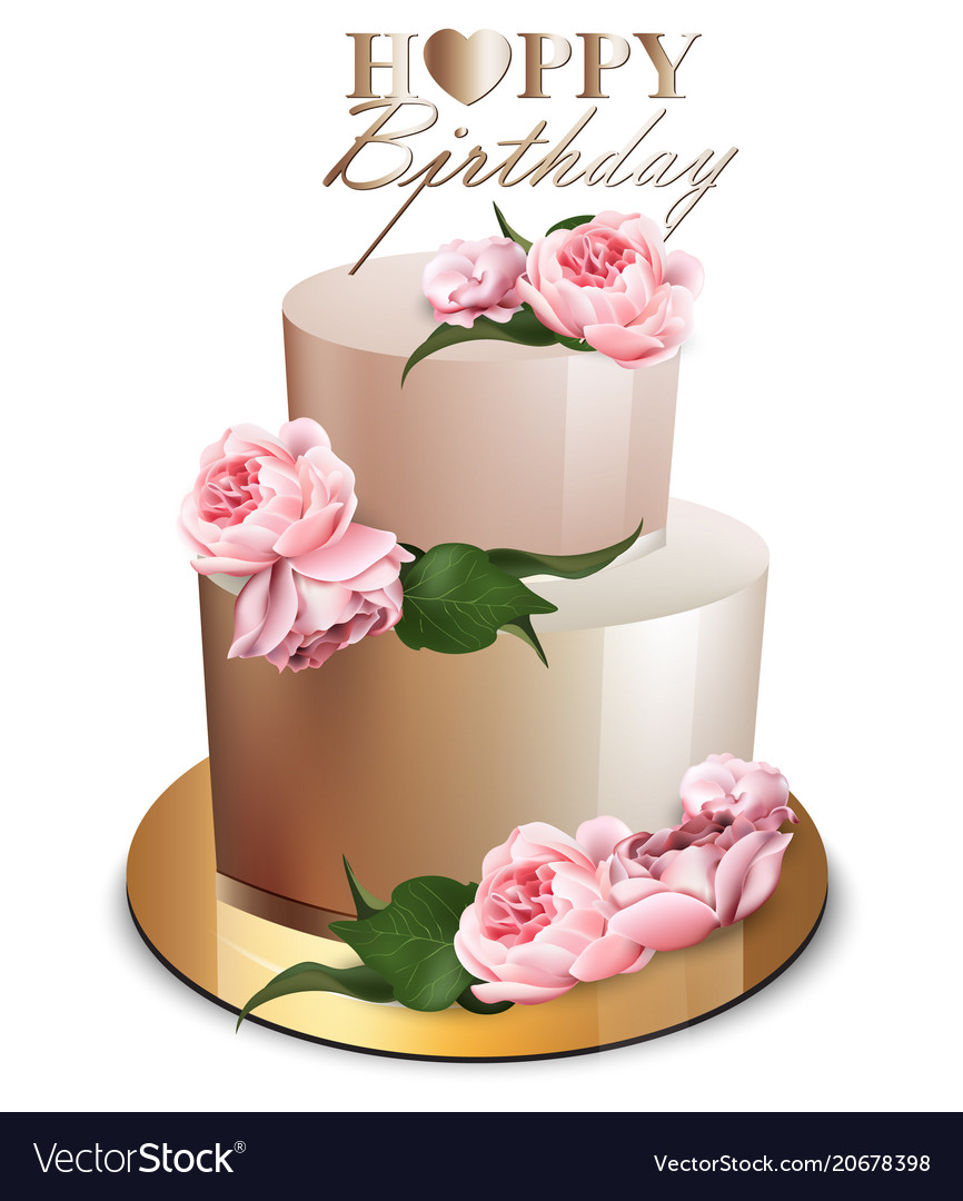 Happy Birthday Cake Realistic Anniversary Vector Image