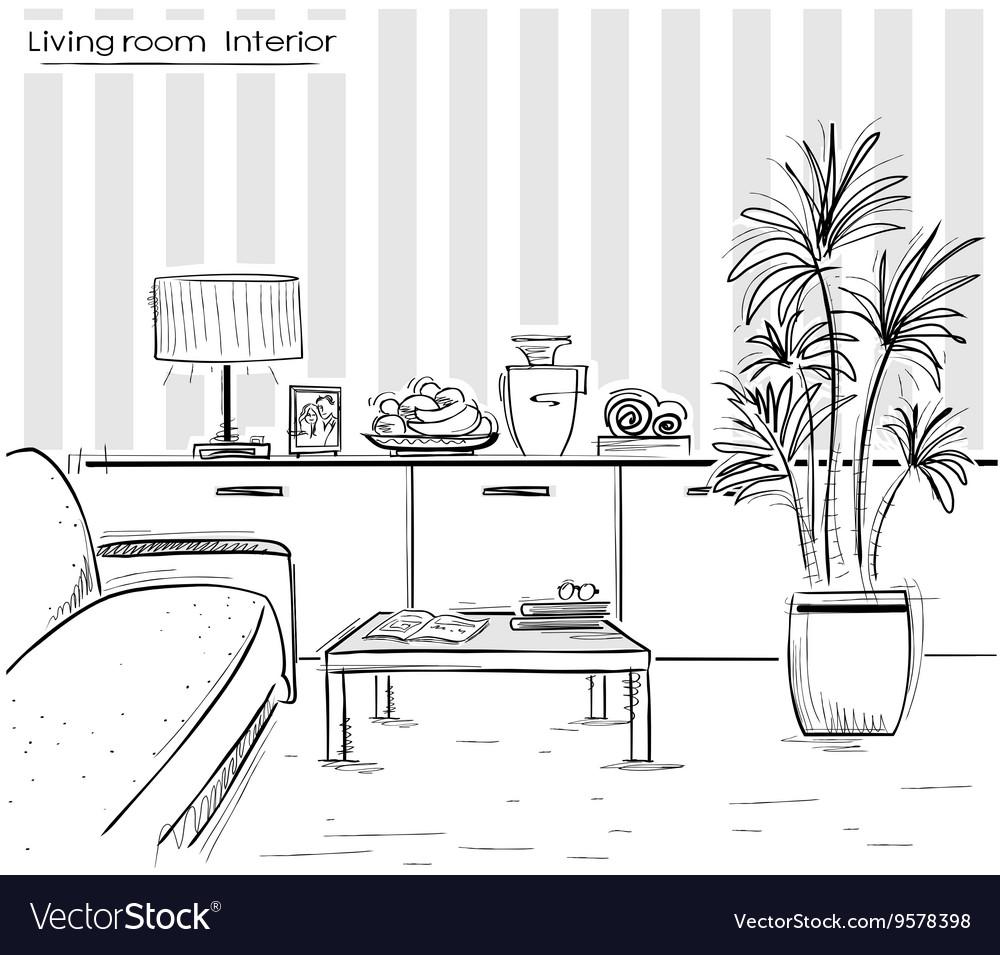 Interior of living room design black hand drawing