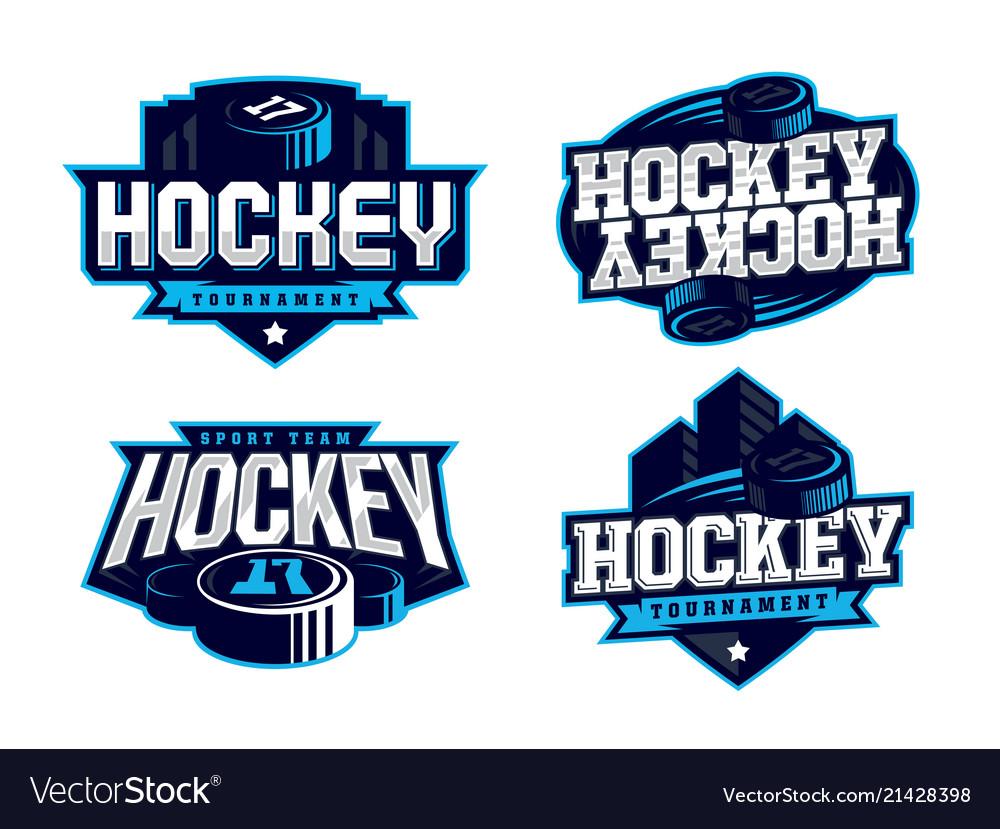Modern professional hockey logo set for sport team