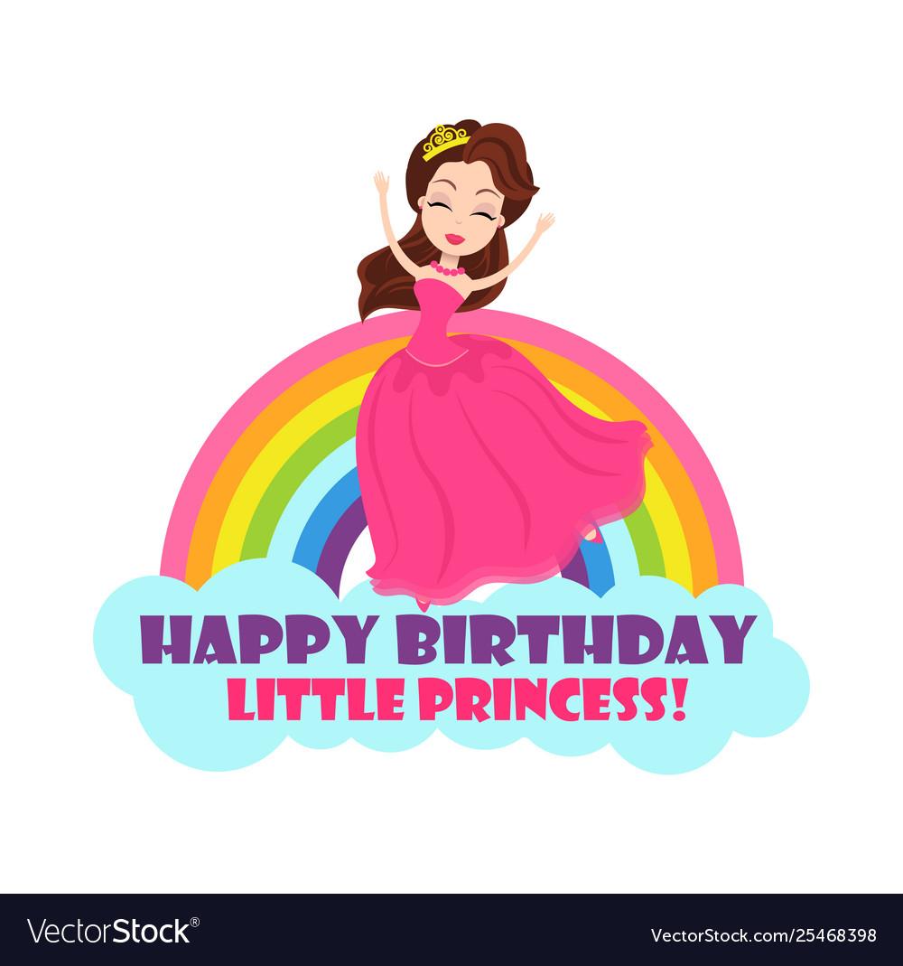 Princess and rainbow birthday holiday card